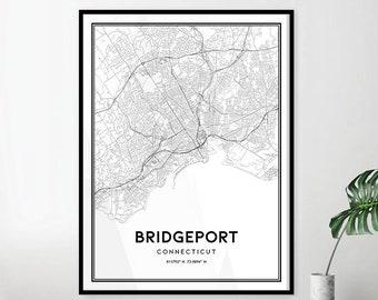 Bridgeport ct map | Etsy