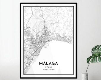 Malaga Spain Map Etsy