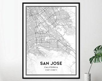 San jose map etsy san jose map print wall art san jose ca city map poster san jose print street map decor road map gift printable download v019 malvernweather Choice Image