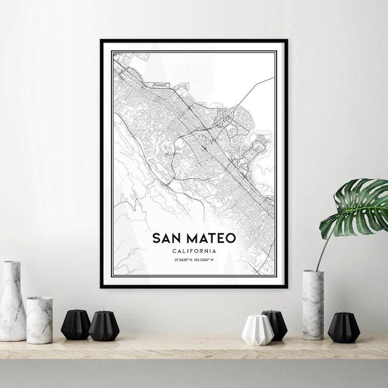 San Mateo map print wall art San Mateo CA city map poster | Etsy on