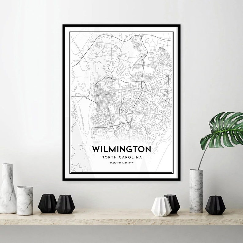 Wilmington map print wall art Wilmington NC city map poster | Etsy on