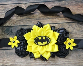 e806b8b6e5b9e Batman Maternity Sash Black Yellow Belly Flower Sash Batman Comic Flower  Sash Baby Shower Super Hero Mommy to Be Yellow Black Flower Sash