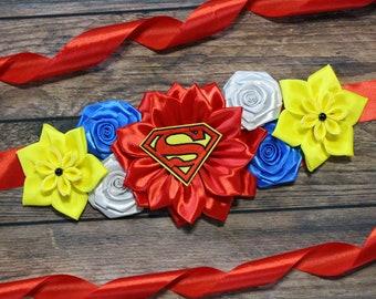 f80827725c8b9 Superman Maternity Sash Blue Red Yellow Flower Sash Superhero Comic Belly  Belt Comic Baby Shower Superhero Daddy to Be Mommy to Be Sash