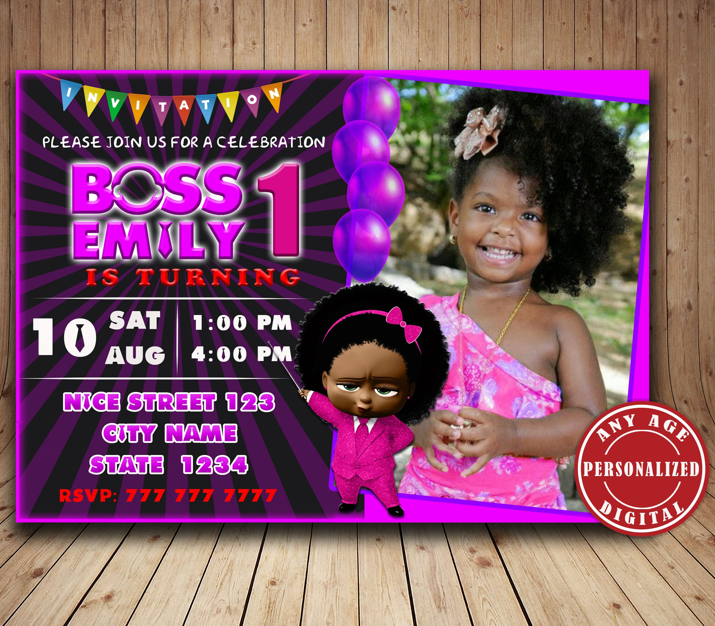 Digital African American Boss Baby Girl Birthday Invitation Personalized Boss Baby Party Birthday Decorations Boss Baby Printables Invit