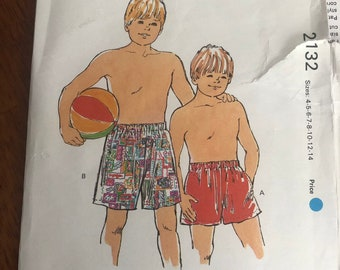 acc15ad775 Kwik Sew #2132 Boys' Swim Trunks and Shorts Sewing Pattern Sizes 4-5-6-7-8- 10-12-14 UNCUT & Factory Folded