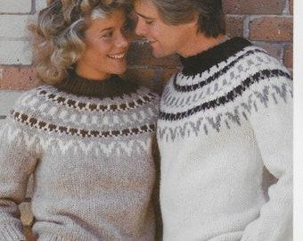 Elenka White Buffalo Pullover Sweater Men Women Digital Knitting Pattern Includes Hat PDF Pattern Almost Free
