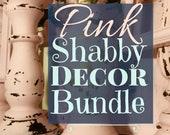 PINK Shabby Chic Decor Set Cottage Bundle Boho Glam Ensemble FREE SHIPPING