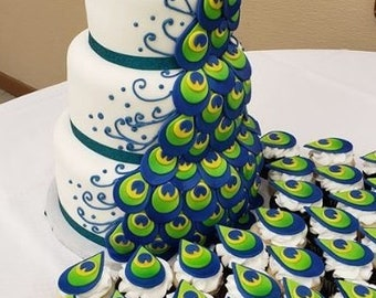 Peacock Wedding Cake Etsy