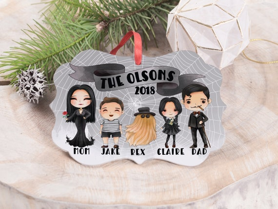 The Addams Family Version #2 Personalized Christmas Couples Ornament