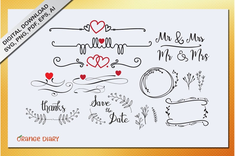 Wedding Ornaments svg vector | Wedding dividers | Wedding Elements | Save  the Date | Hand drawn elements | Doodles Ornaments | Wreath