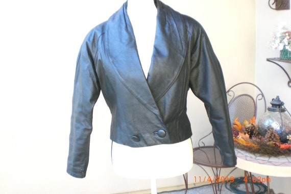 1980's avon fashion black leather jacket