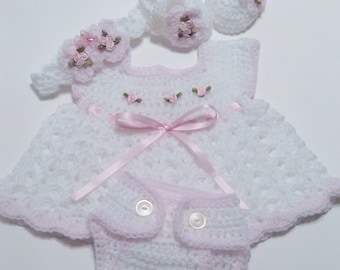 2eea657a47a Crochet White Newborn Dress Set Baby Dress
