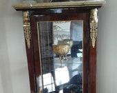 Spectacular Vintage French Bois Satinee Satinwood Louis Napoleon Empire Cabinet Figural Bronze Ormalu Mounts