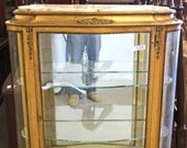 Gorgeous French Antique Louis Empire Style Ornate Rococo Regency Marble Top Gold Bronze Gilt Vitrine