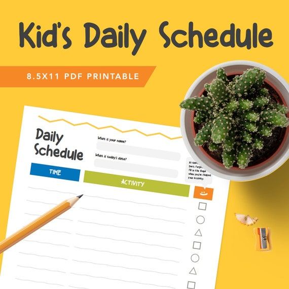 Kids Daily Schedule Planner - PDF, Printable To do List, Planner Pages, Printable Stationary