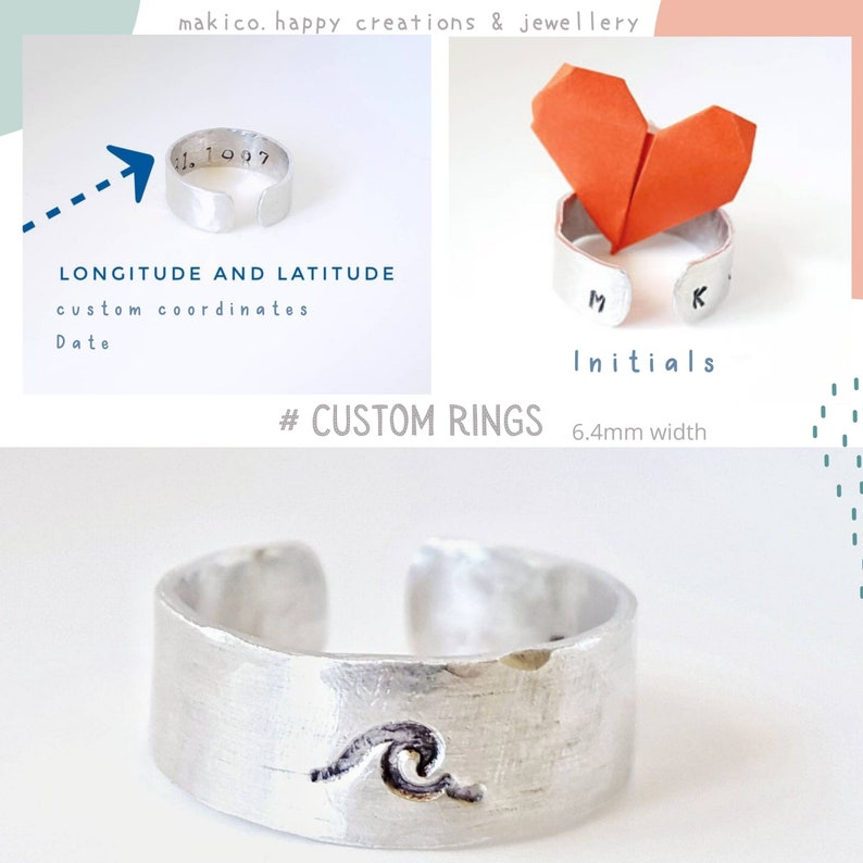 Ocean ring Inspirational ring Personalized adjustable  ring Wave ring