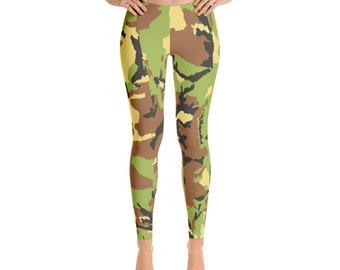 728b5c89b5b89 Women's Black And Green Camouflage Leggings, Military Leggings, Full, Yoga  or Capri Length. Work Out, Printed and Sewn in USA.