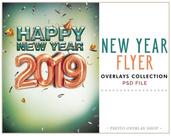happy new year 2019 flyer metallic balloons psd fully editable layered holidays card party poster party flyer invitation