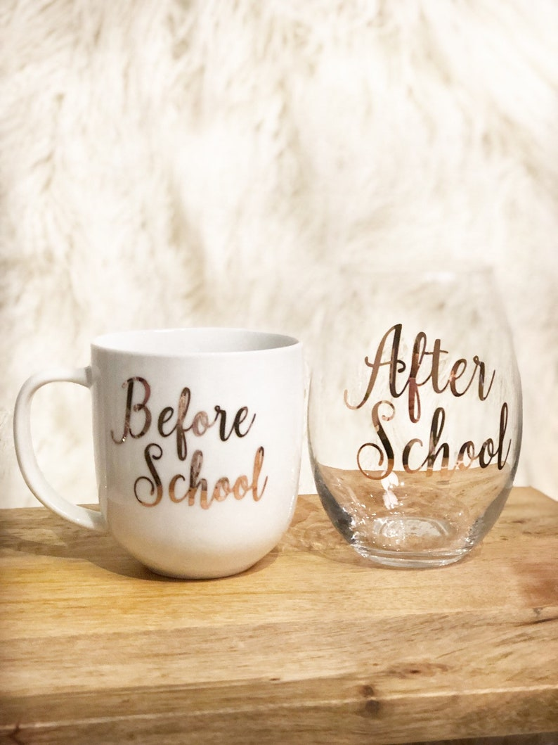 Gifts for Teachers | Before School After School Wine Glass and Mug | Beanstalk Mums