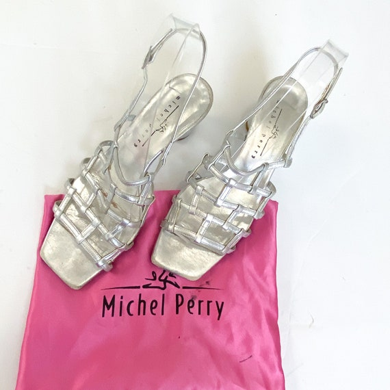 Michel Perry silver leathercaged sling back sandal