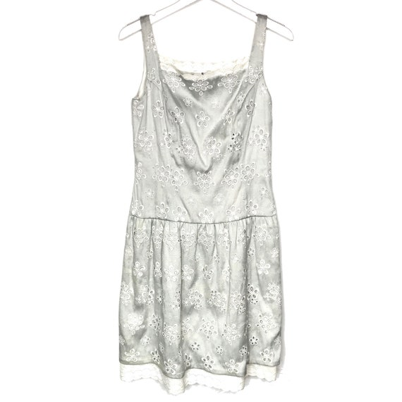 Bill Blass gray eyelet dress, size 6