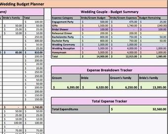 excel wedding budget etsy