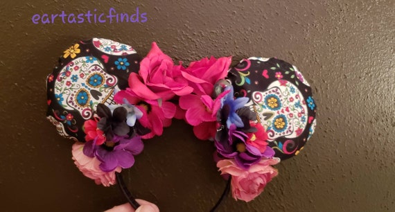 Coco Disney inspired Day of the dead sugar skull these make great not to scary Halloween ears.