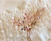 Rose gold bridal hair pin,wedding hair accessories, freshwater pearl rose gold hair pin, bridesmaid hair pin gold hair pin pink peal hair pi