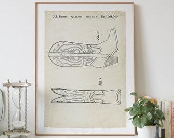 COWBOY BOOT patent drawing print digital download, vintage art patent drawings prints store, patents wall art printable poster design
