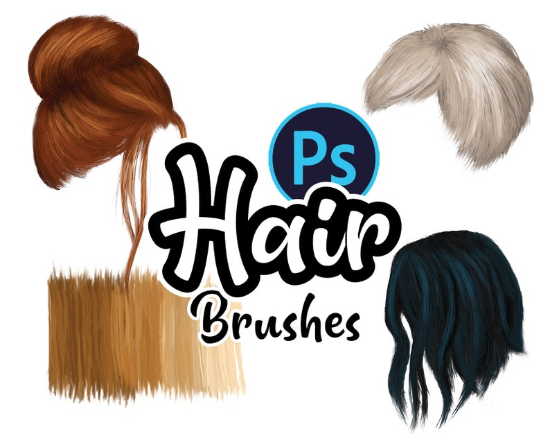 Photoshop and Procreate Hair Brushes in a full range of image 0