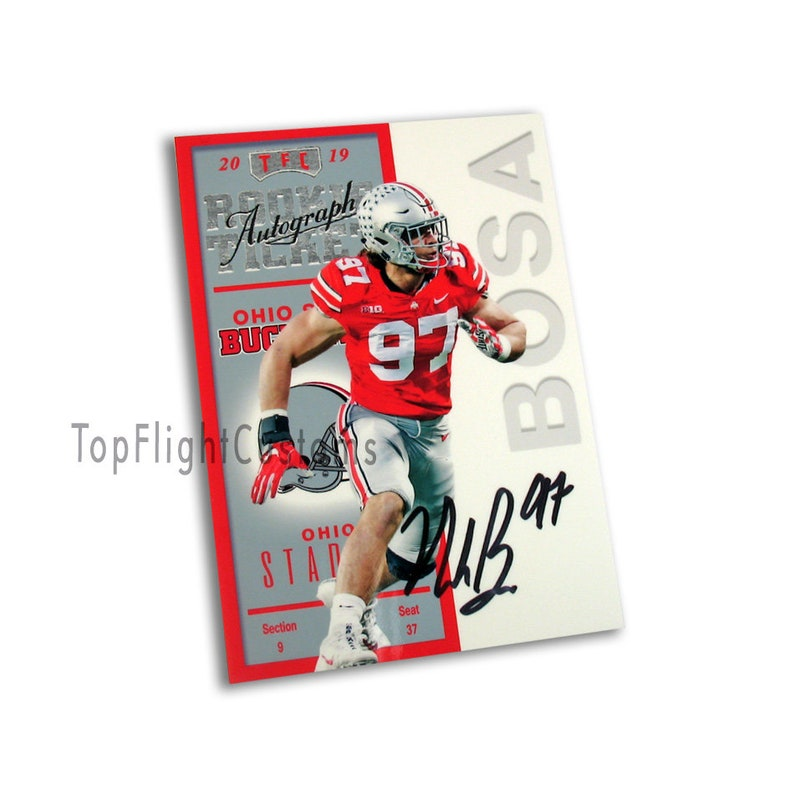 Nick Bosa 1998 Contenders Rookie Ticket Style Custom Rc Ohio State Buckeyes Art Facsimile Auto Rc 30 Football Card Gift Idea College
