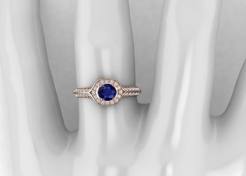 Blue Sapphire Engagement Ring 14k Solid Gold Bridal Art Deco Wedding Ring Promise Ring for Women Vintage Anniversary Birthday Gift For Her
