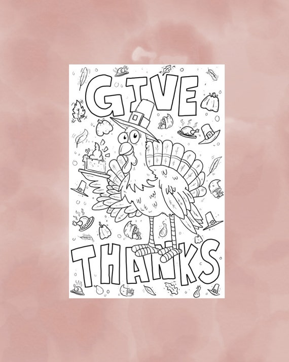 Large Fall Coloring Page Thanksgiving Party Fall Printable