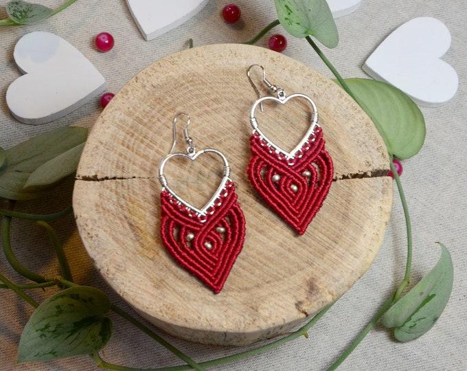 Boho earrings   macrame   tribal earrings   red earrings on hearts