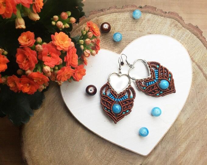 boho earrings   macrame   tribal earring   brown earrings on hearts