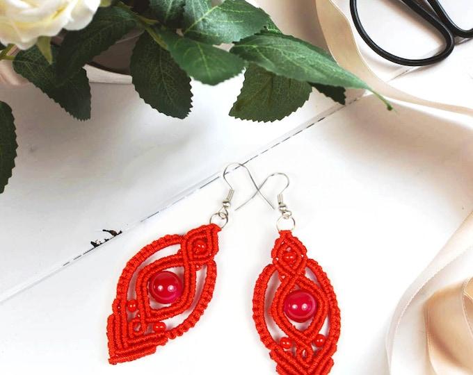 boho earrings    macrame   tribal earrings    red romantic earring