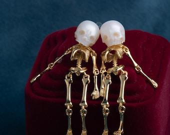 Mermaid And Gentlemen Skeleton Shape Earring skull pearl  jewelry set sterling sliver earring gift for woman