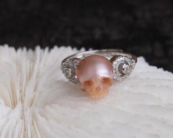 The Evil Eye Ring handmade skull ring  carved freshwater pearl 925silver ring wedding statement ring