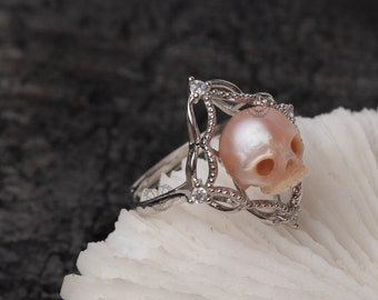 The Hermit Ring handmade skull ring carved freshwater pearl 925silver ring wedding statement ring