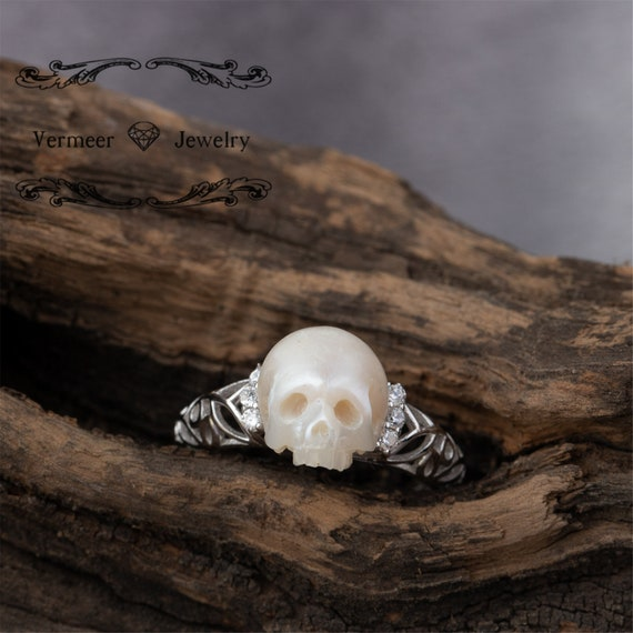 skull carved pearl ring natural freshwater pearl black or gold sea pearl  11-13mm handmade 925silver engagement ring with zircon