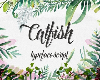 Digital font Calligraphy Handwritten Script Wedding Watercolor Instant Download fonts Catfish