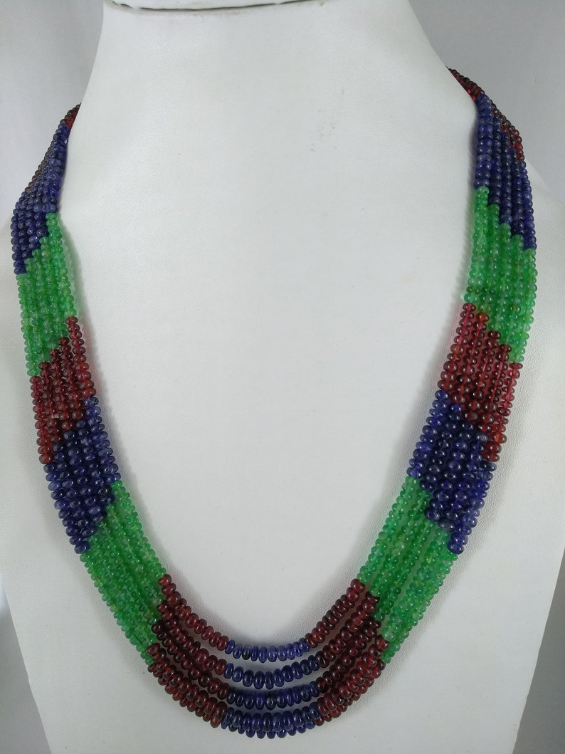 1 Strand Emerald Spinel Sapphire Multi Stone Necklace