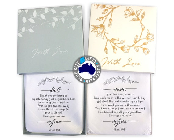 Personalized Wedding Gifts For Parents: Personalized Wedding Handkerchief Wedding Gift For Parents