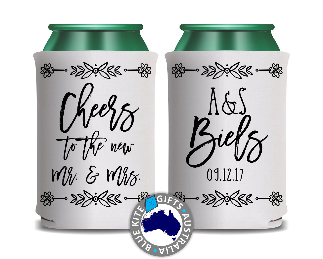 Wedding Gifts Online Australia: Wedding Stubby Holder. Wedding Can Cooler. Personalised Stubby