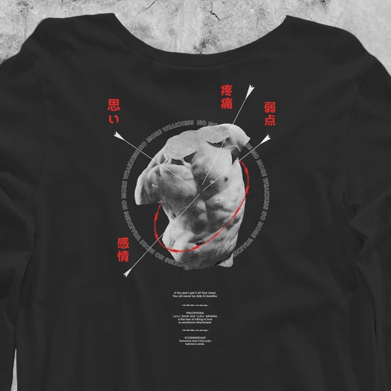 NO MORE WEAKNESS | Long Sleeve T Shirt techwear tumblr vaporwave aesthetic sad greek statue grunge Eccedentesiast ancient rome sadgasm mxdvs