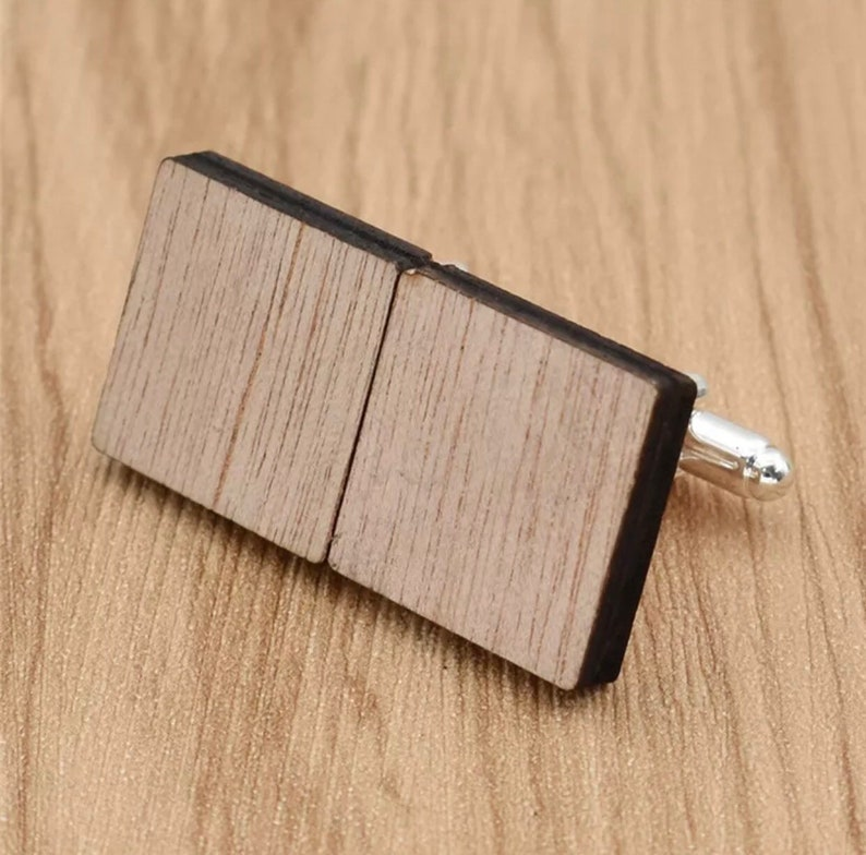 Fathers day gift Unique Gift for him gift for dad Wedding accessories Wooden Cufflinks square Husband gift Groomsmen gift