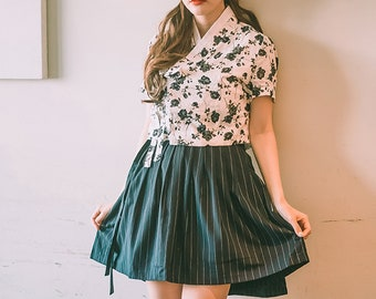 e012c71a0ec Wrap Skirt - Railway Mini (미니철길) Korean Style Skirt Mini Skirt Striped  Skirt Hanbok 미니철길