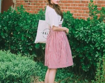 2e4ca3c608 Wrap Skirt - Gingham Red /Korean Style Skirt//Hanbok/Checkered Skirt/깅엄 레드