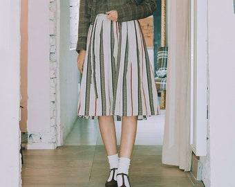 b5a3d29d1b Wrap Skirt - Lala Stripe Beige/Korean Style Skirt/Midi Skirt/Striped Skirt /Hanbok/라라스트라입베이지
