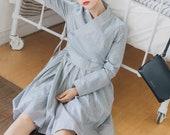Mini Dress - Gray City Hanbok Dress Korean fashion K-fashion 회색도시